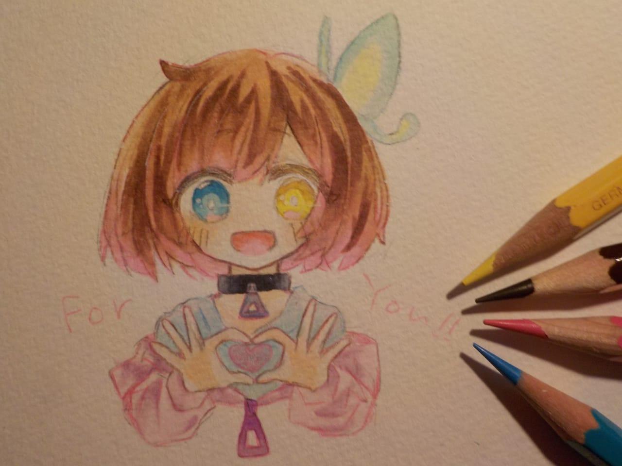 きよちゃん。様の代理ちゃんを描かせていただきました! Illust of めだまやき#中2病 アナログ ふぉろわーさんの代理さんを借りよう大作戦 angel 天気 smile Copic coloredpencil きよちゃん kawaii chibi