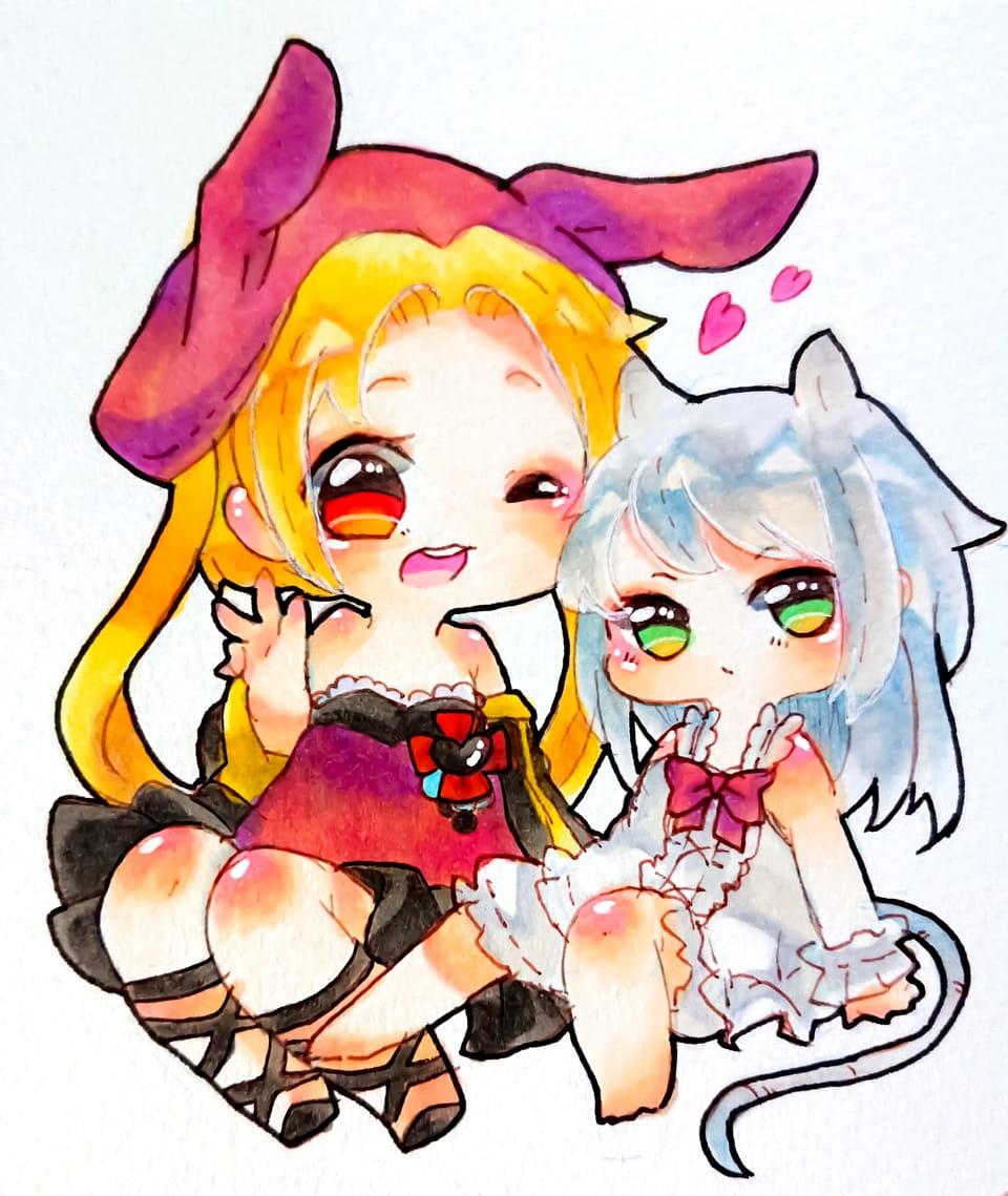 【擬人化】うさぎとねずみ Illust of 天草ライチ Copic Personification ネズミ rabbit oc