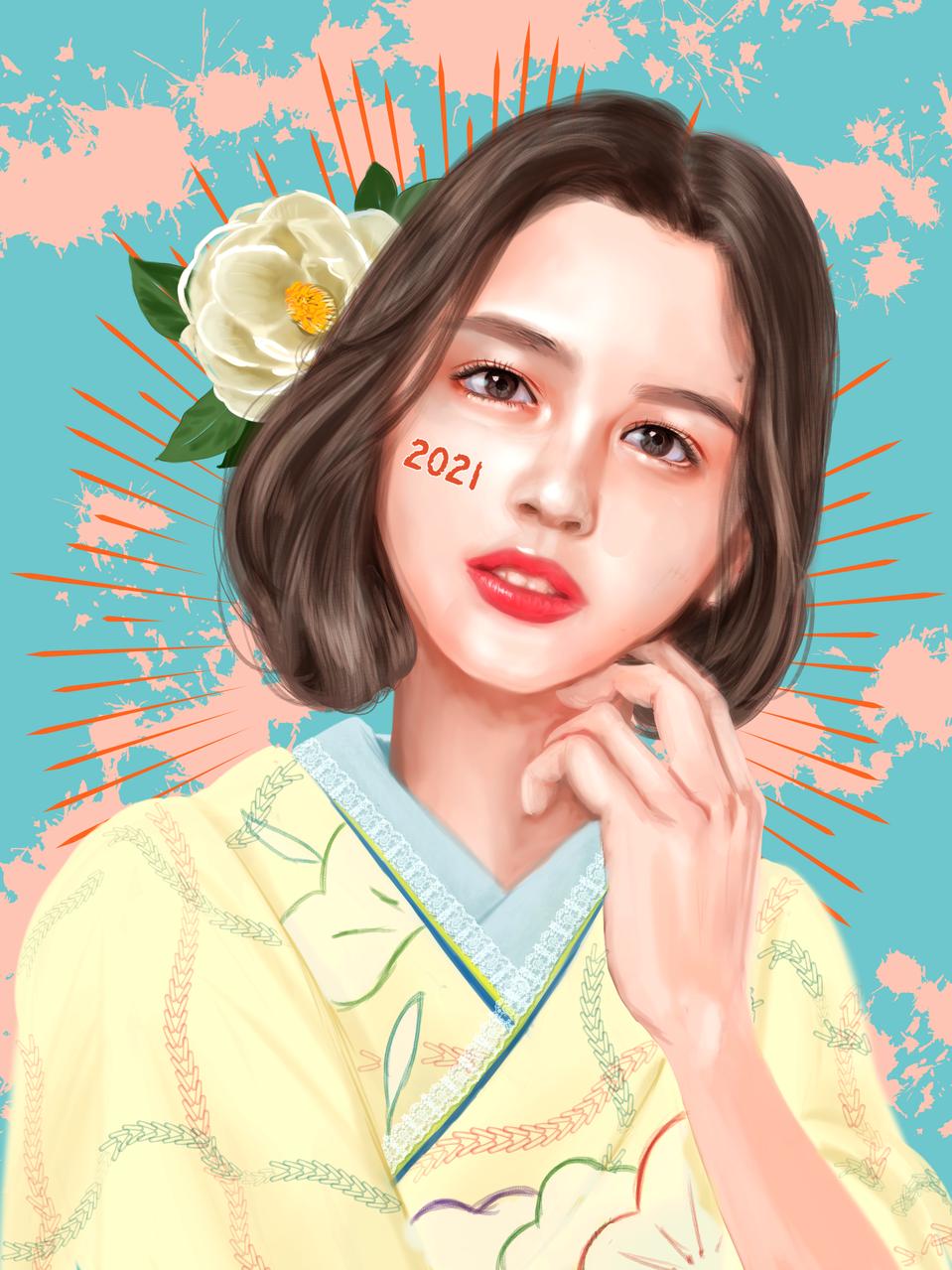 2021もよろしくね Illust of FJ impasto girl newyear kawaii fanart レイラニ realistic
