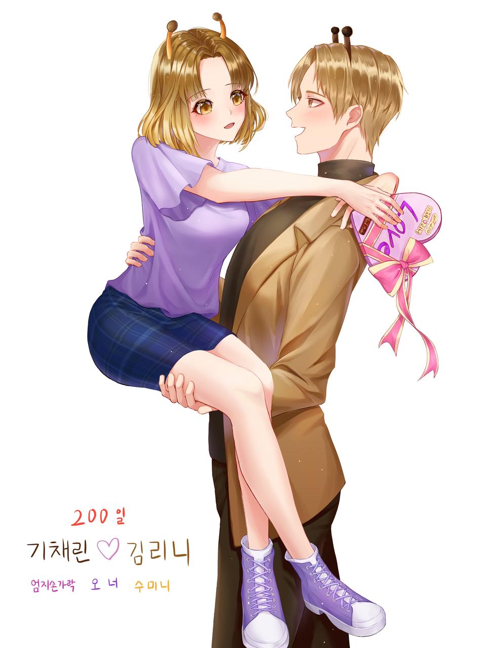 기채린♡김리니 200일+발렌타인 Illust of 엄지손가락👍 Feb2020:VDAY medibangpaint