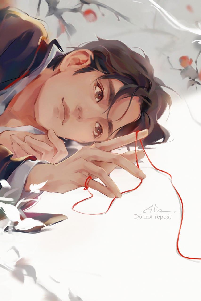 Red Thread Illust of Atin bjyx digital Xiaozhan肖戰 WangYibo王一博