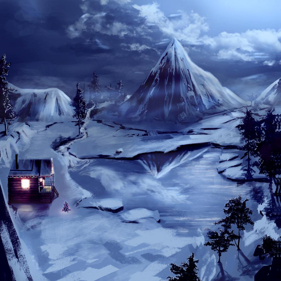 Relaxing Night Illust of Bani_Art dec.2019Contest snow 湖 山 Christmas night scenery 雪山