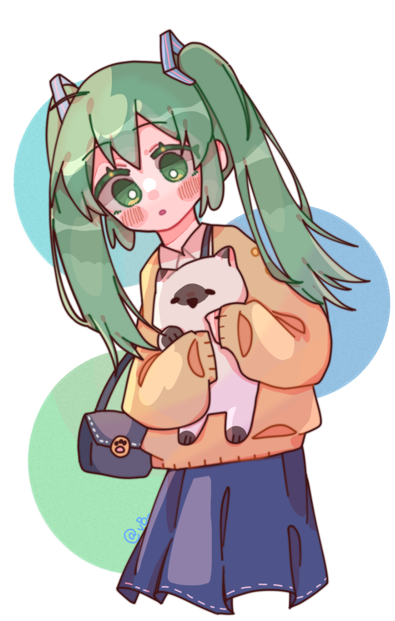 miku Illust of 爷就是女王(并不) medibangpaint hatsunemiku cat green cute girl miku