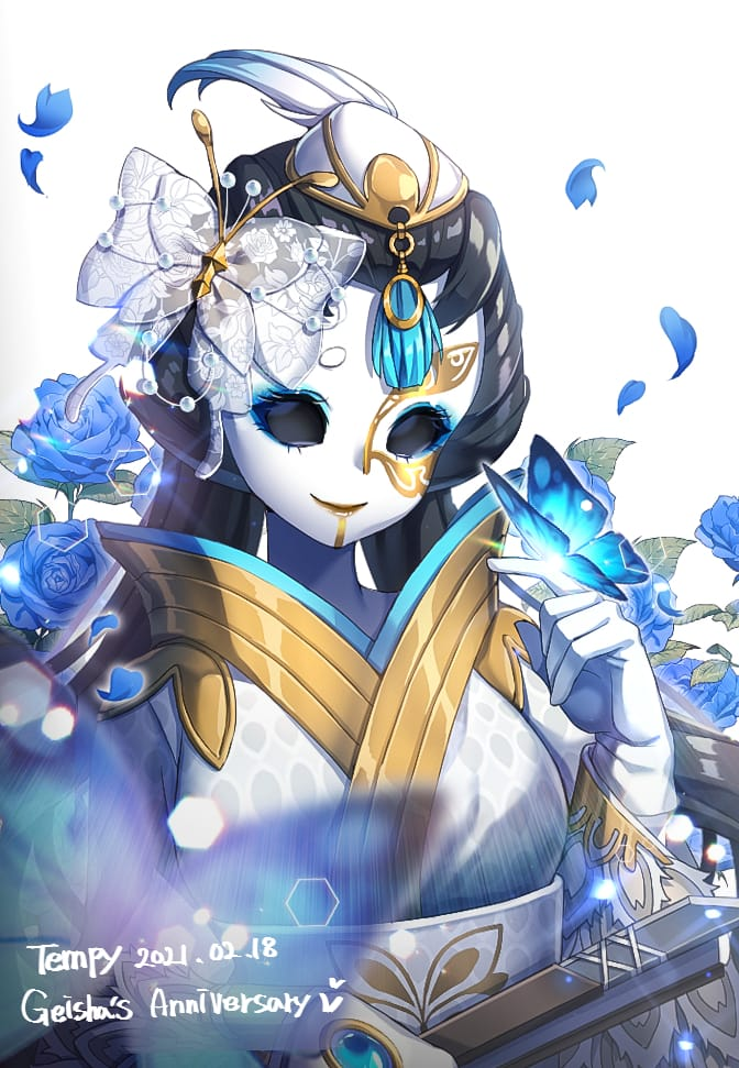 Geisha Anniversary Illust of Tempy butterfly blue IdentityV 青色 rose 美智子記念日 Anniversary