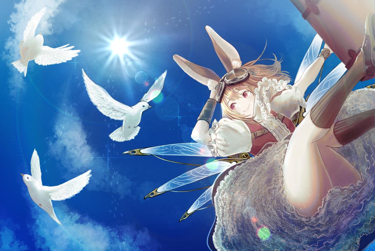 あおぞら Illust of Mugi ART_street_Illustration_Book_Contest February2021_Fantasy sky girl birds