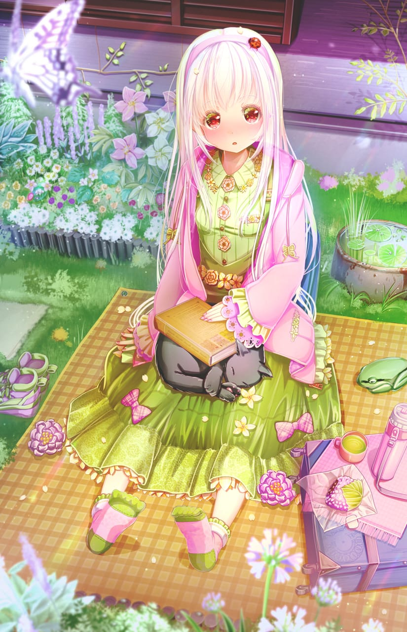 お昼寝会🐞🐸🐈 Illust of あいうあぼ original girl butterfly 黒猫 flower