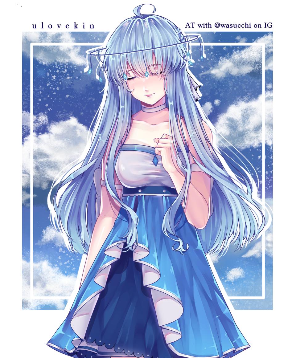 [AT] oc belongs to @wasucchi on IG Illust of ulovekin medibangpaint blue Arttrade digital anime animegirl