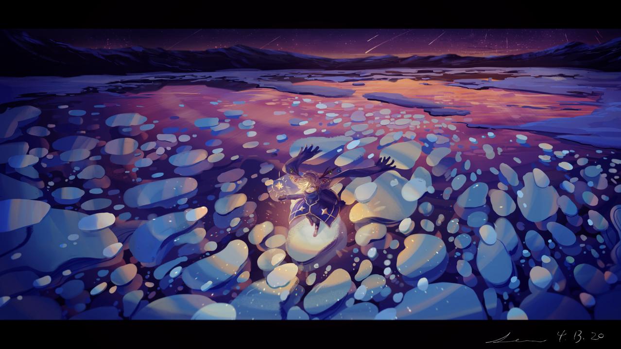 「こんな場所があったなんて!」 Illust of 星灯れぬ fantasy original ホシサガスモノ 湖 starry_sky 風景が
