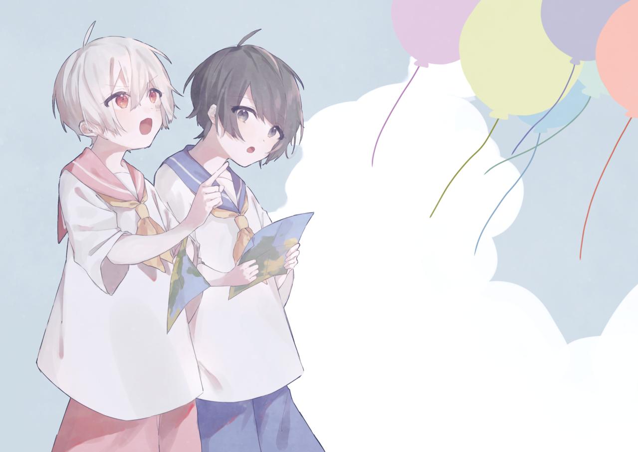 Illust of みぞれ sailor_uniform 黒髪 white_hair Balloon