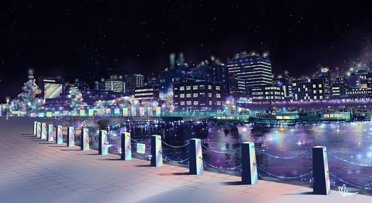 星空 Illust of Miru米如 BackgroundImageContest_Coloring_Division Background_Image_Contest starry_sky 夜景 湖畔 キラキラ illustration 城市