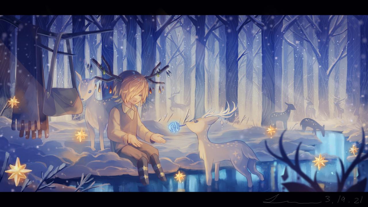 「僕にくれるのかい?」 Illust of 星灯れぬ fantasy February2021_Fantasy blue forest scenery animal ホシサガスモノ original