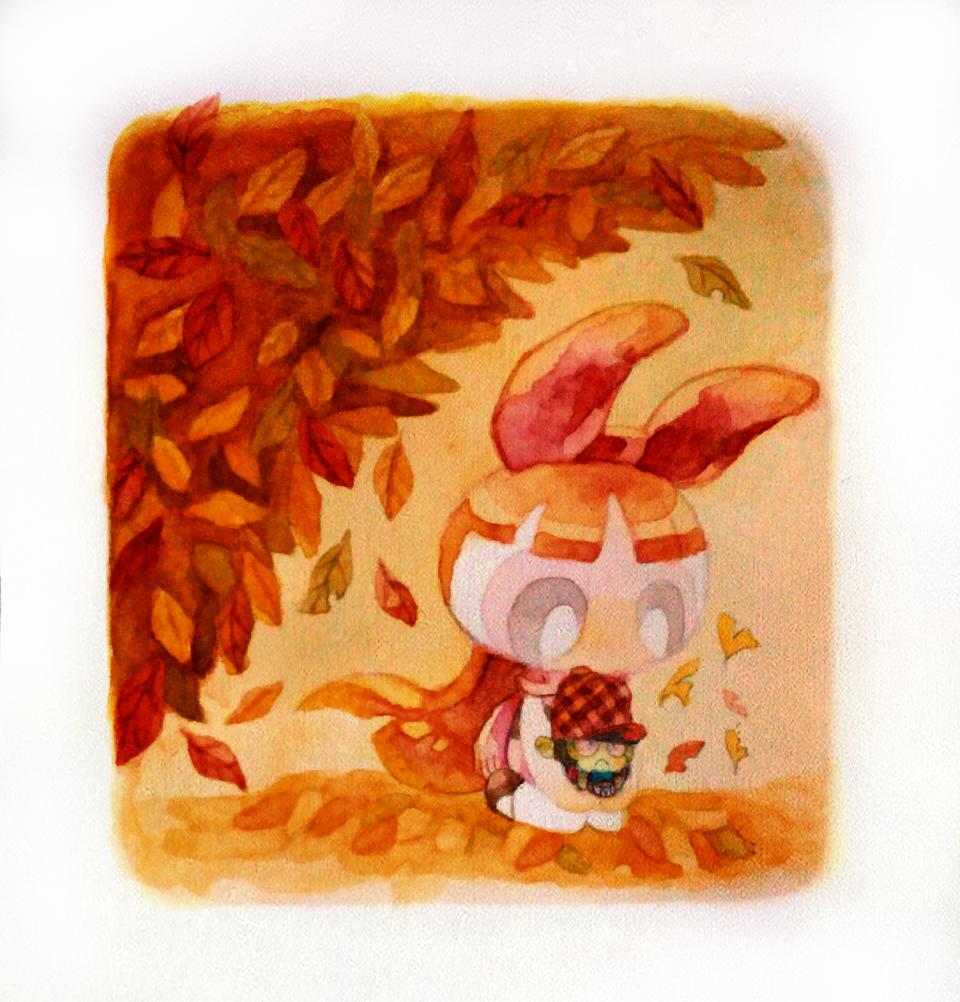 モジョブロ Illust of 駿河はろるど 海外アニメ オレンジ モジョブロ 落ち葉 autumn cartoon ThePowerpuffGirls PPG