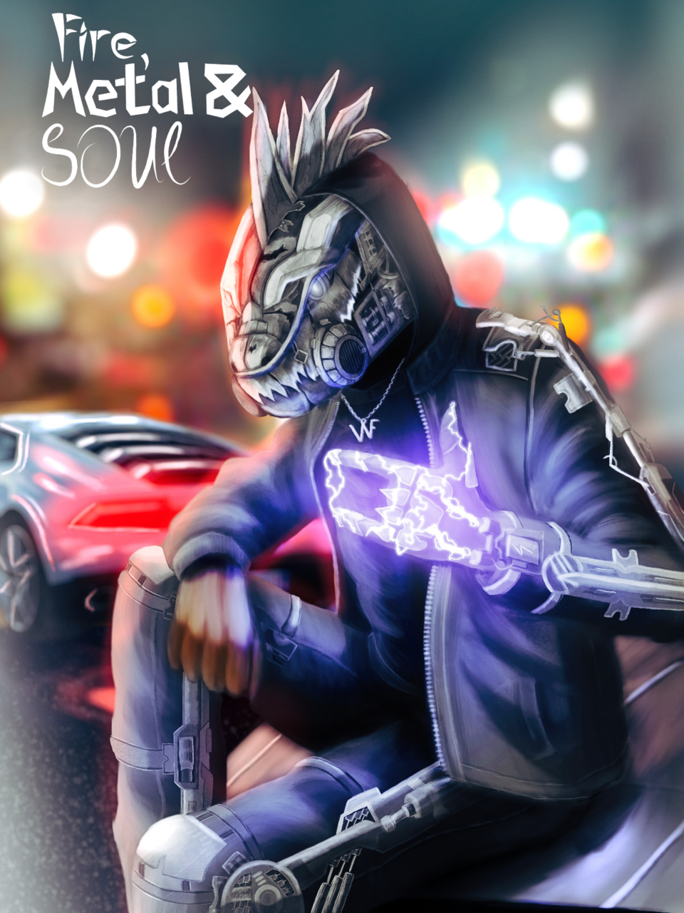 Fire, Metal & SOUL (oc) Illust of ℤ𝕖𝕟𝕜𝕒𝕥𝕒𝕣 medibangpaint Whitefire illustration electric realistic night dragon supercar cyberpunk oc