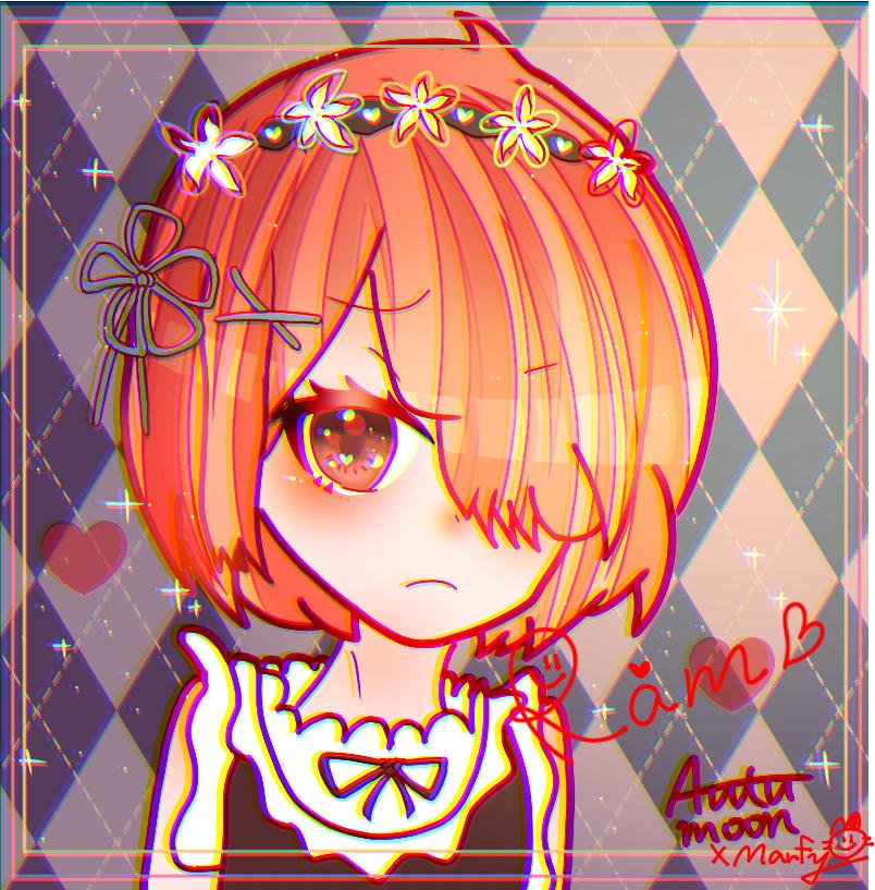 【コラボ】Autumoon99×Marfy ラムちゃん Illust of Marfy kawaii autumoon99 maid Re:Zero collab ラム girl 相互 きらきら 色収差