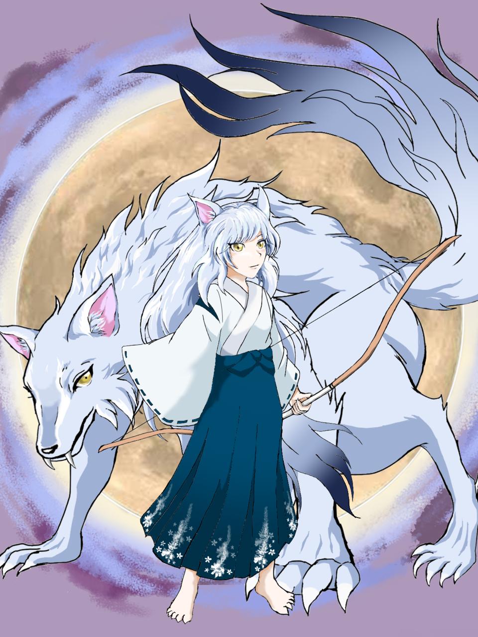 月の女神 -Artemis- Illust of すぼみー(*'▽'*) September2020_Contest:Furry white_hair night wolf goddess oc moon animal_ears furry