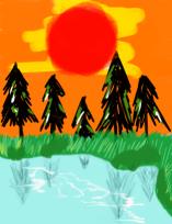 夕陽と池と Illust of sanzame 夕陽 木 夕陽バック 風景画 sunset 夕日 池 scenery
