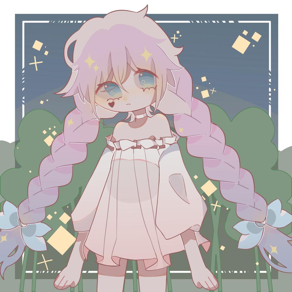 星星與幸運草. Illust of 桜庭花莓. medibangpaint girl pinkhair 三つ編み