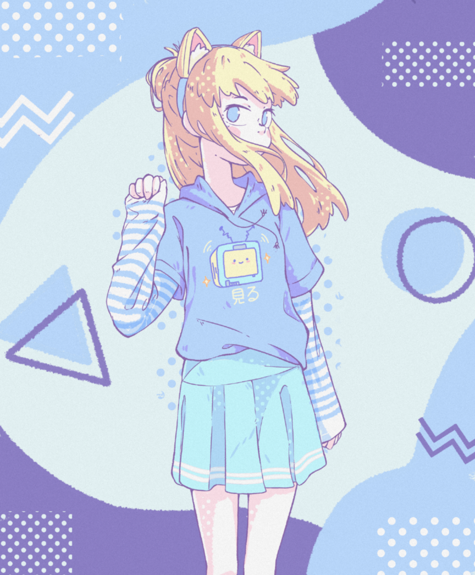 Nekomimi Illust of JJKrokodil cute cat_ears cutegirl catears manga anime pastelaesthetic nekogirl pastel