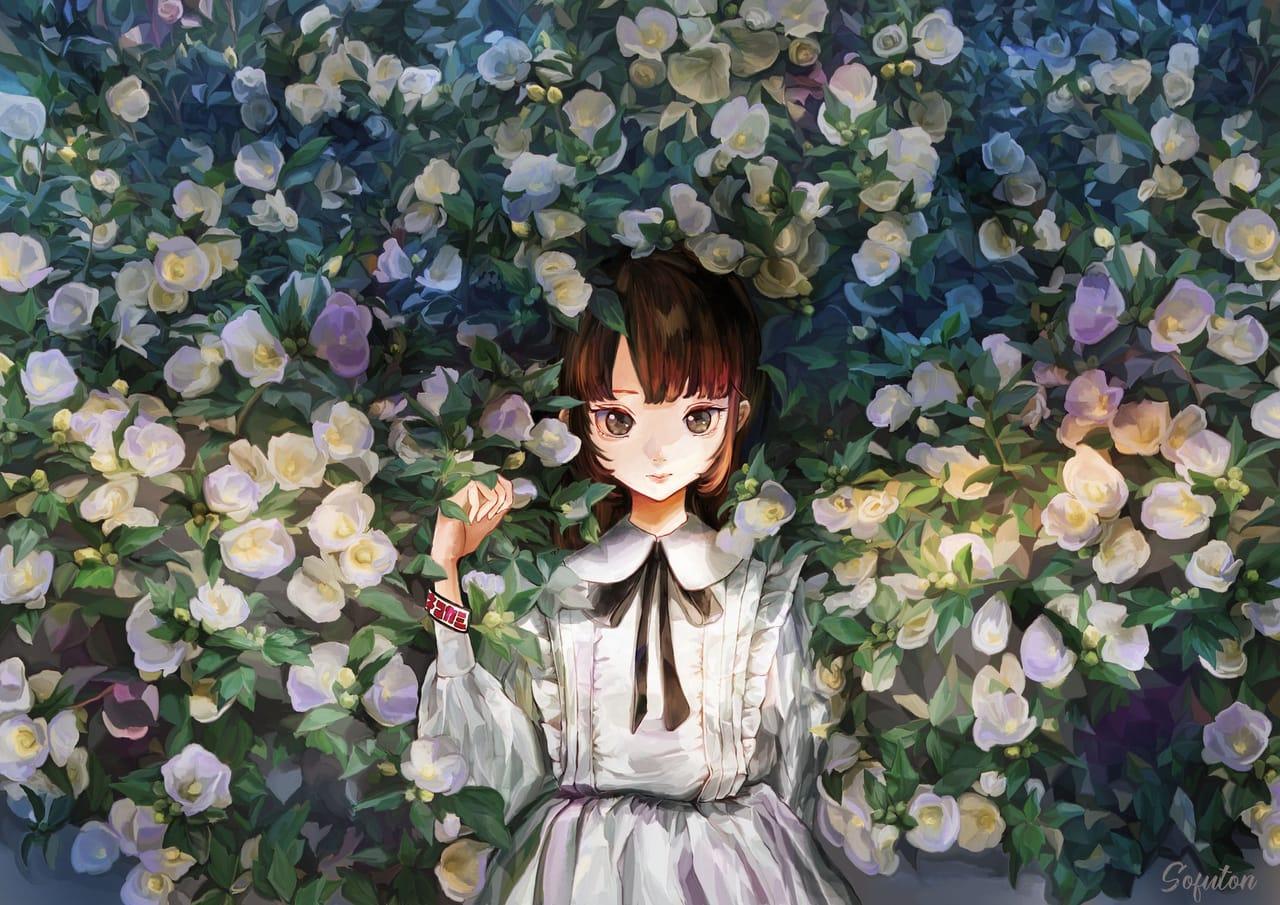 今日はピアノの発表会だけど本当はロックバンドのライブに行きたい少女 Illust of 画々市 女の子イラスト dress flower