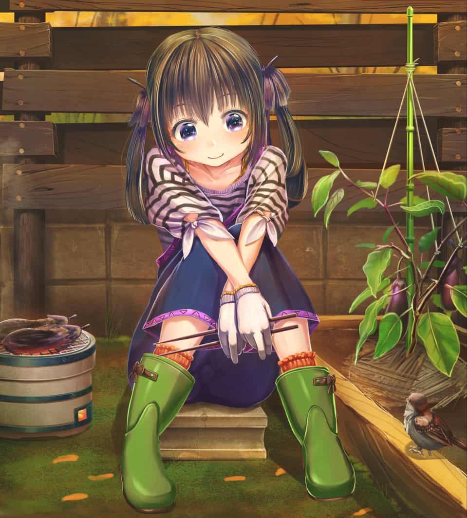 秋ナス Illust of あいうあぼ autumn twin_ponytails ナス original