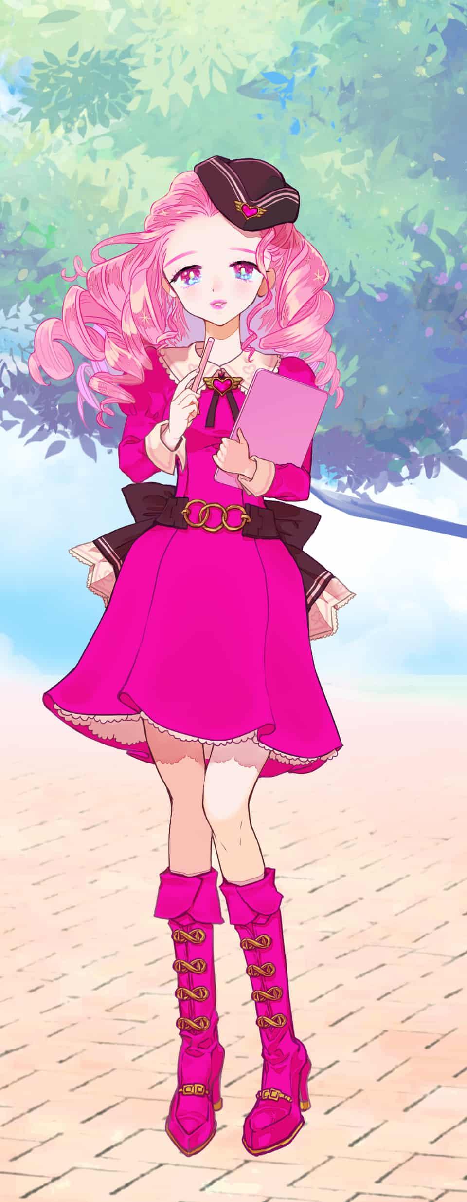 PASTEL SKETCH PINK Illust of SB PASTEL_SKETCH2020 illustration お嬢様 デコだし kawaii pink girl character