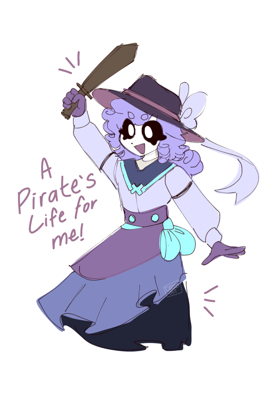 Tiny Tip Illust of CrossOut AU drawing pirate oc