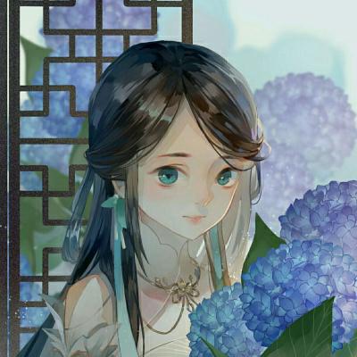 古风女孩头像 Illust of 一尾流鸢_ medibangpaint longhair girl hydrangea