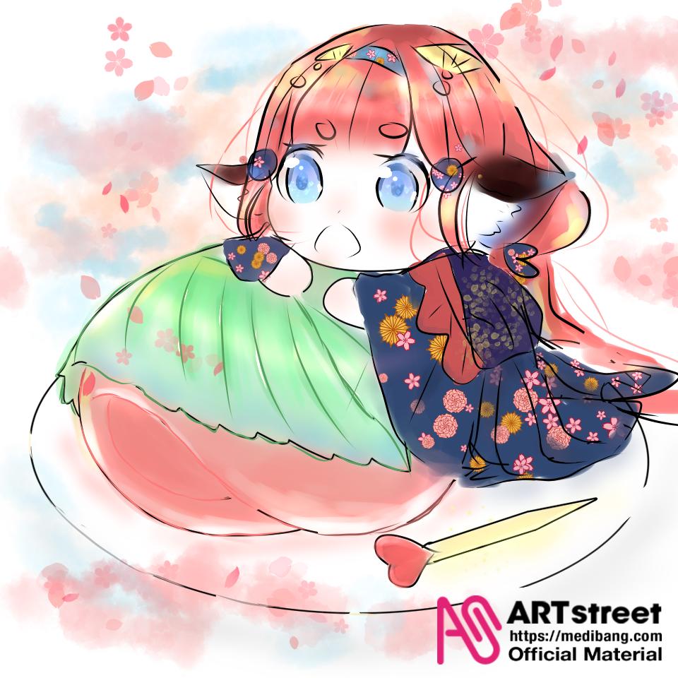 🌸春日与猫🌸 Illust of lini tracedrawing medibangpaint cat flower 猫娘 春 团子 美少女