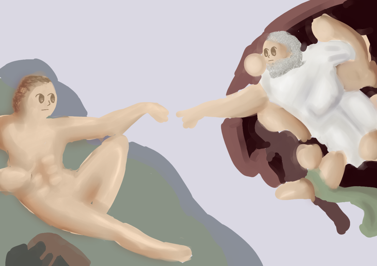 The creation of Adam Illust of BushBabyOrigins MasterpieceFanart medibangpaint idk fanart masterpiece Michelangelo contest evenmoretags moretags God redraw