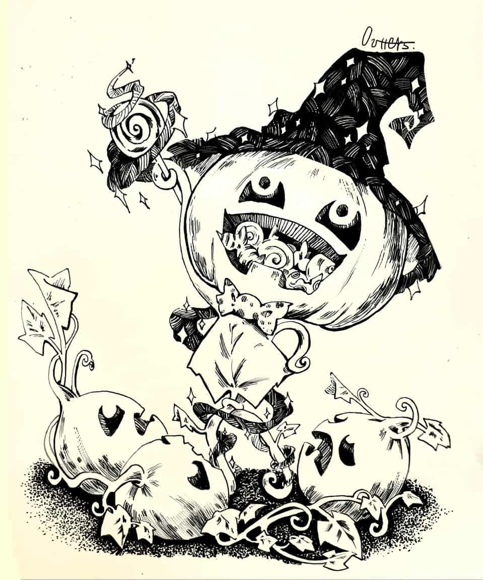 南瓜魔法師/ Pumpkin Mage Illust of Outter's Space ARTstreet_Ranking 魔法師 original inkwork 南瓜 Halloween 黑白稿