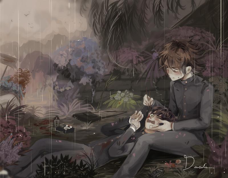 𝕗𝕣𝕚𝕖𝕟𝕕𝕤 Illust of Devselia boy Botanical illustration Boys blood oc digital MyArt flowers rain
