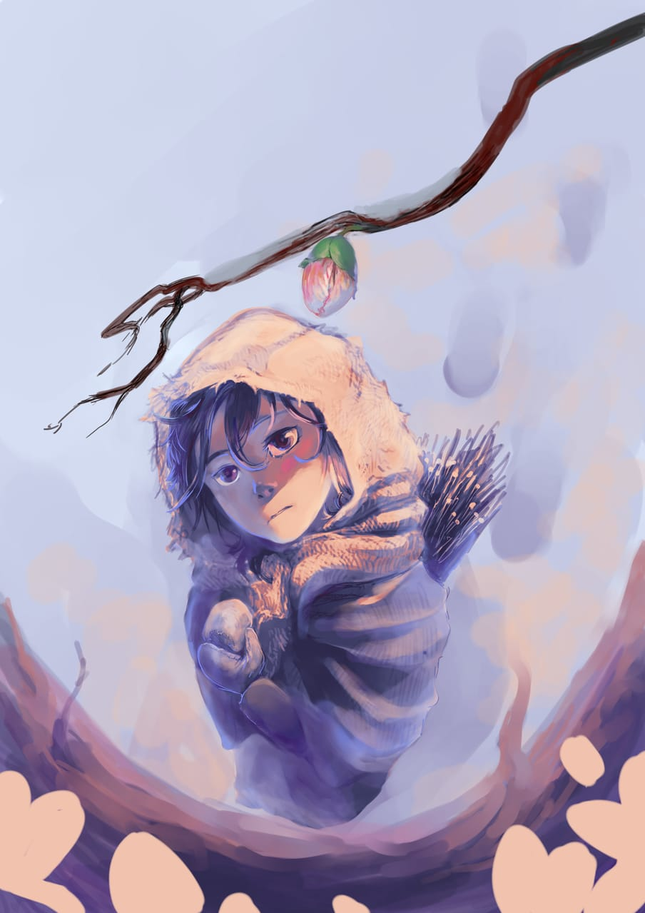 First touch of warmth Illust of Lear April2021_Flower snow blue flower character spring