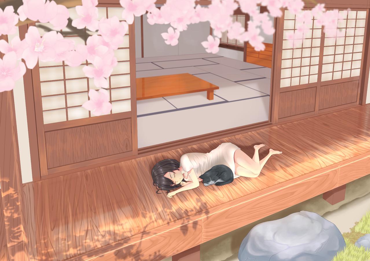 居眠り Illust of えいじ April2021_Flower illustration cat cutegirl digital girl oc