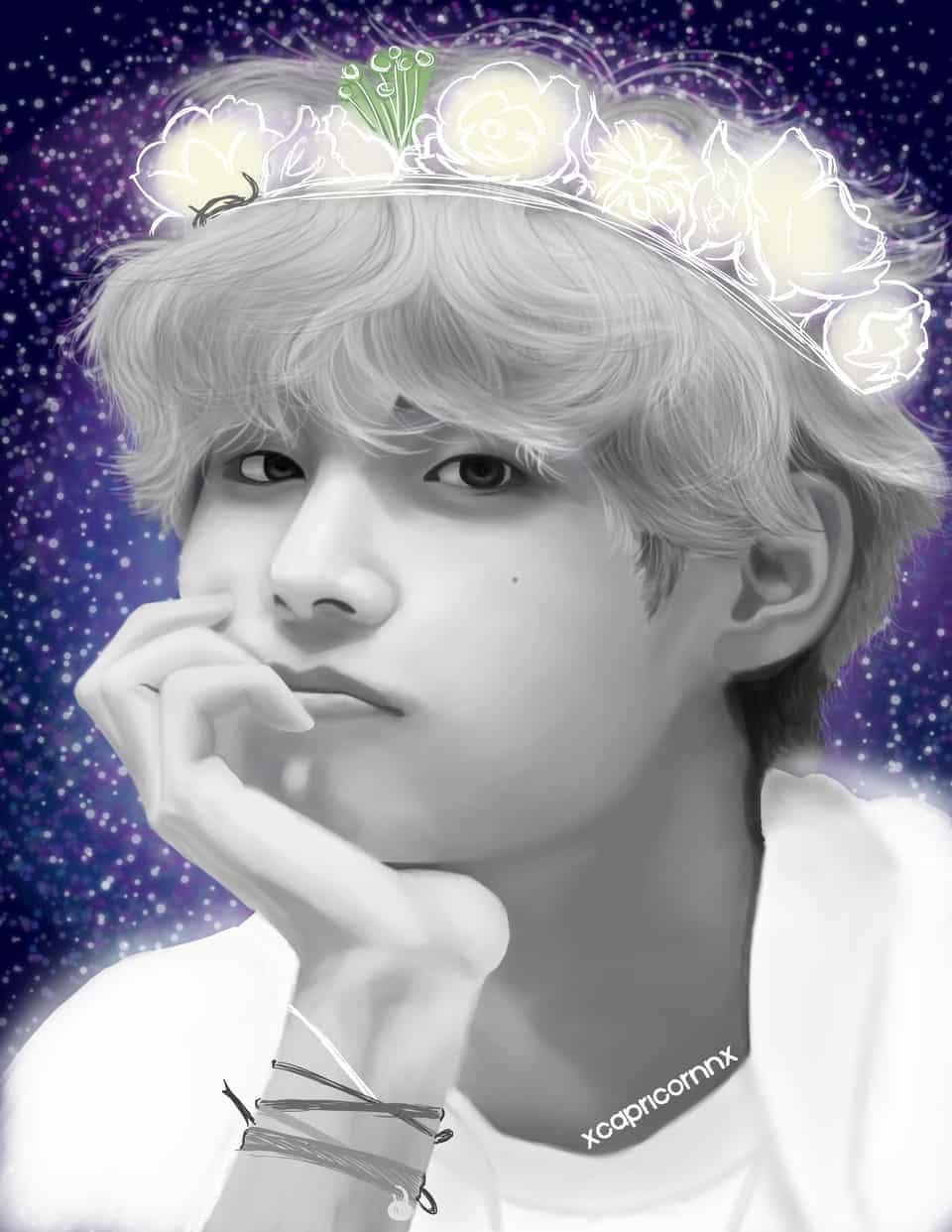 Taehyung Fanart Illust of xcapricornx Kpop fanart V BTS bangtansonyeondan