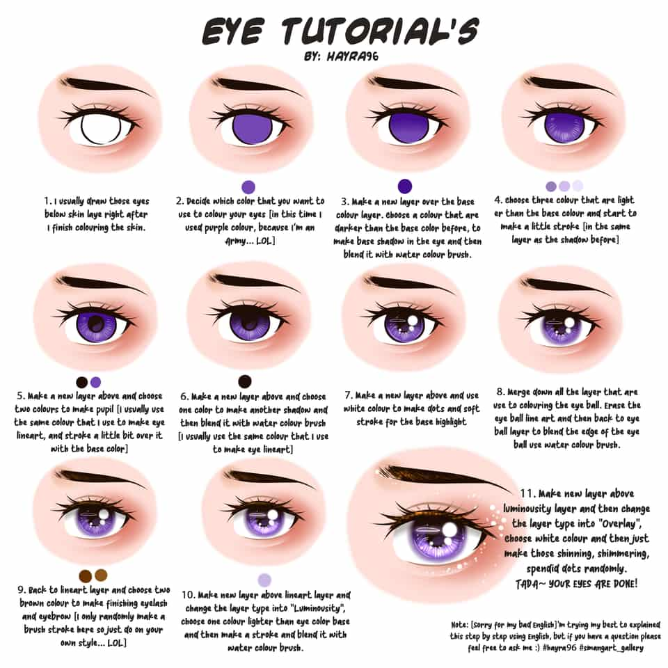 Eye Coloring Tutorial [by: hayra96] Illust of Hayra96 The_Challengers angry art smangartgallery drawing Artwork tutorial hayra96 illustration eyetutorial eyes painttoolsai