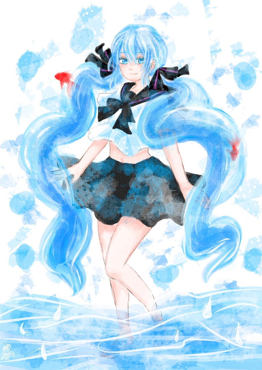 ボトルミク2 Illust of 嫺やか medibangpaint VOCALOID hatsunemiku ボトルミク 水色 watercolor