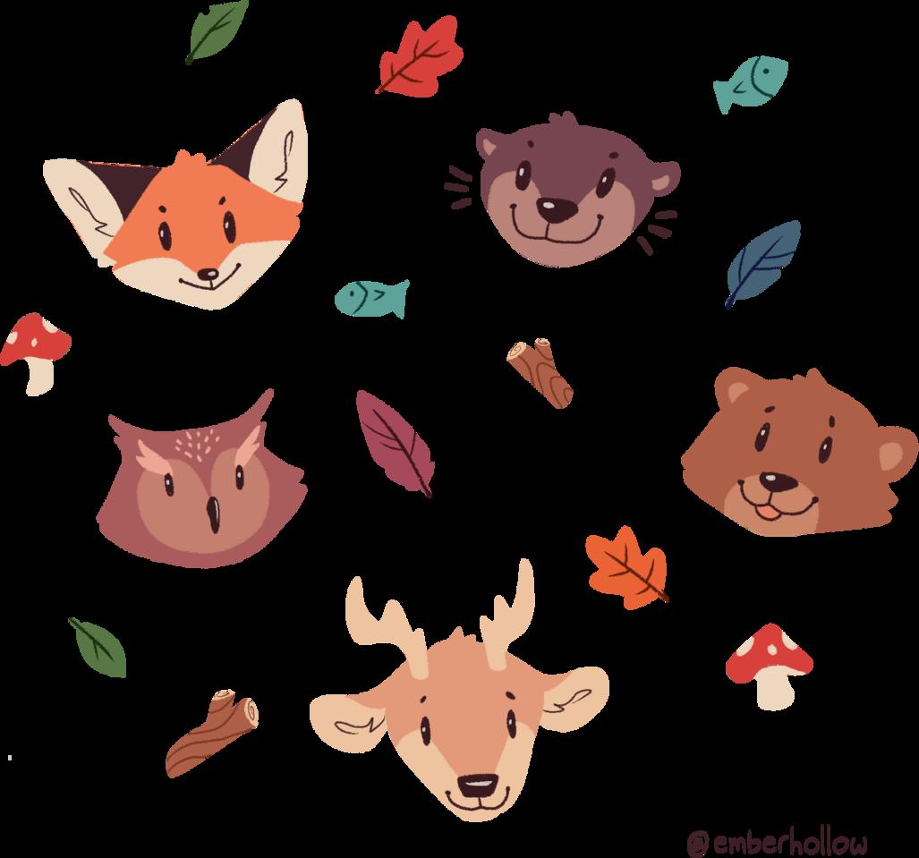 Forest Friends Illust of emberhollow medibangpaint iPad_raffle sticker owl fox bear otter deer