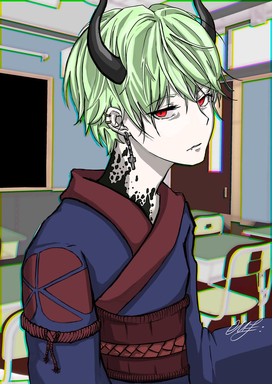 Devil in a school Illust of Somachi MF96 Background_Image_Contest BackgroundImageContest_Using_Division kid boy devil background Blur