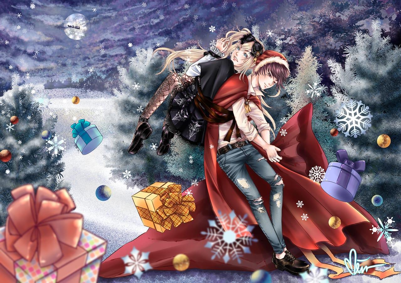 惡作劇聖誕之夜 Illust of Miru米如 December2020_Contest:Santa original 夜景 蘿莉塔服裝 boy girl 禮物 Christmas