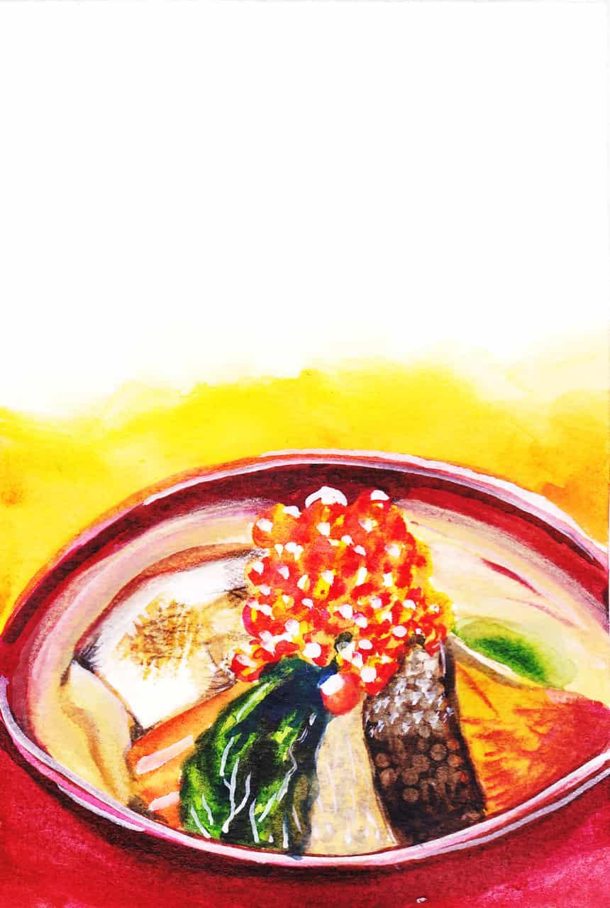 北海道の「お雑煮」 Illust of おち☆よしかず(Occhiiy:オッチー☆) October2020_Contest:Food 鮭 food お雑煮 北海道 お正月 アナログの本気 イクラ