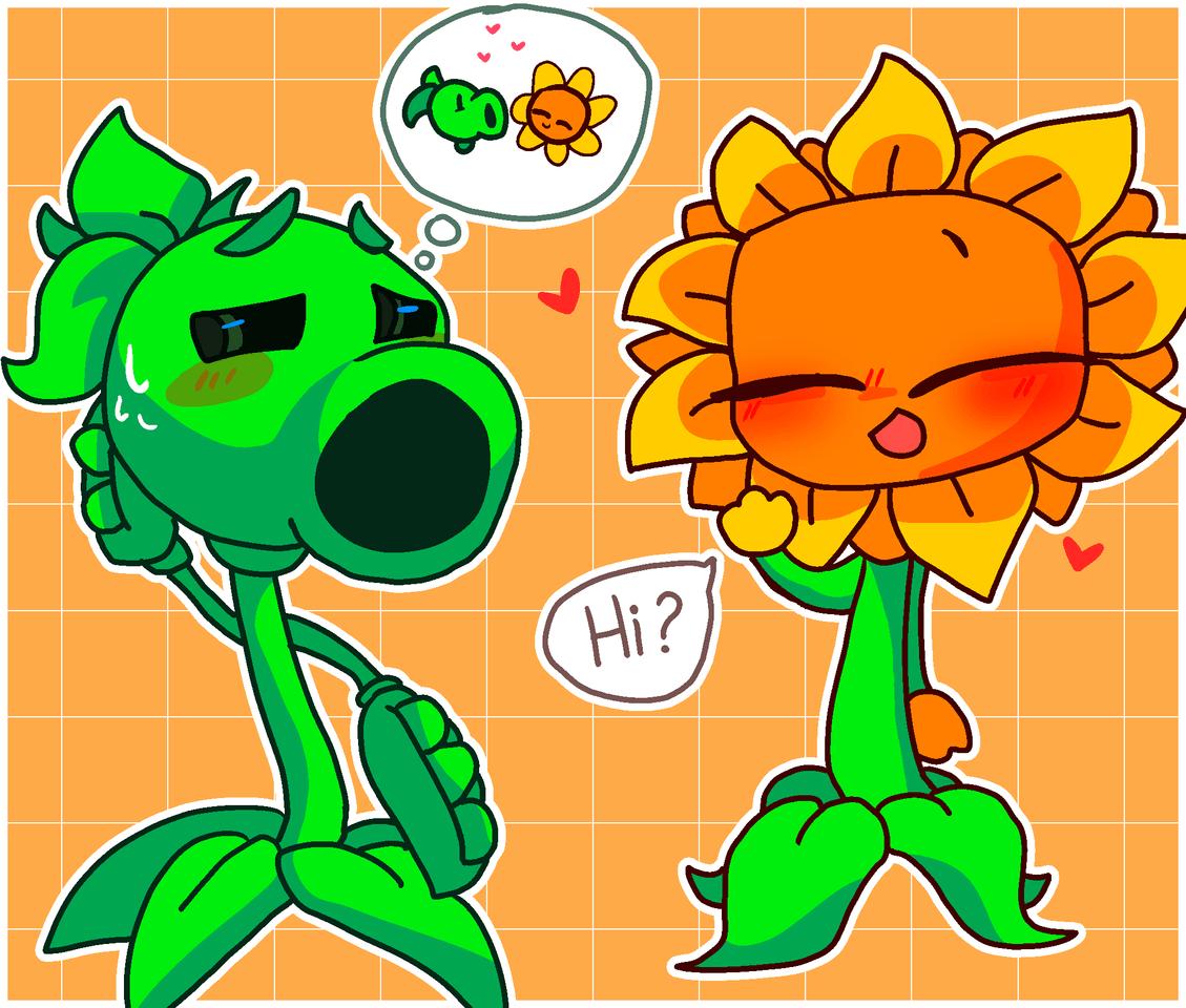 sunflower x peashooter >w< Illust of Zizi moon Peashooter sunflower >w<