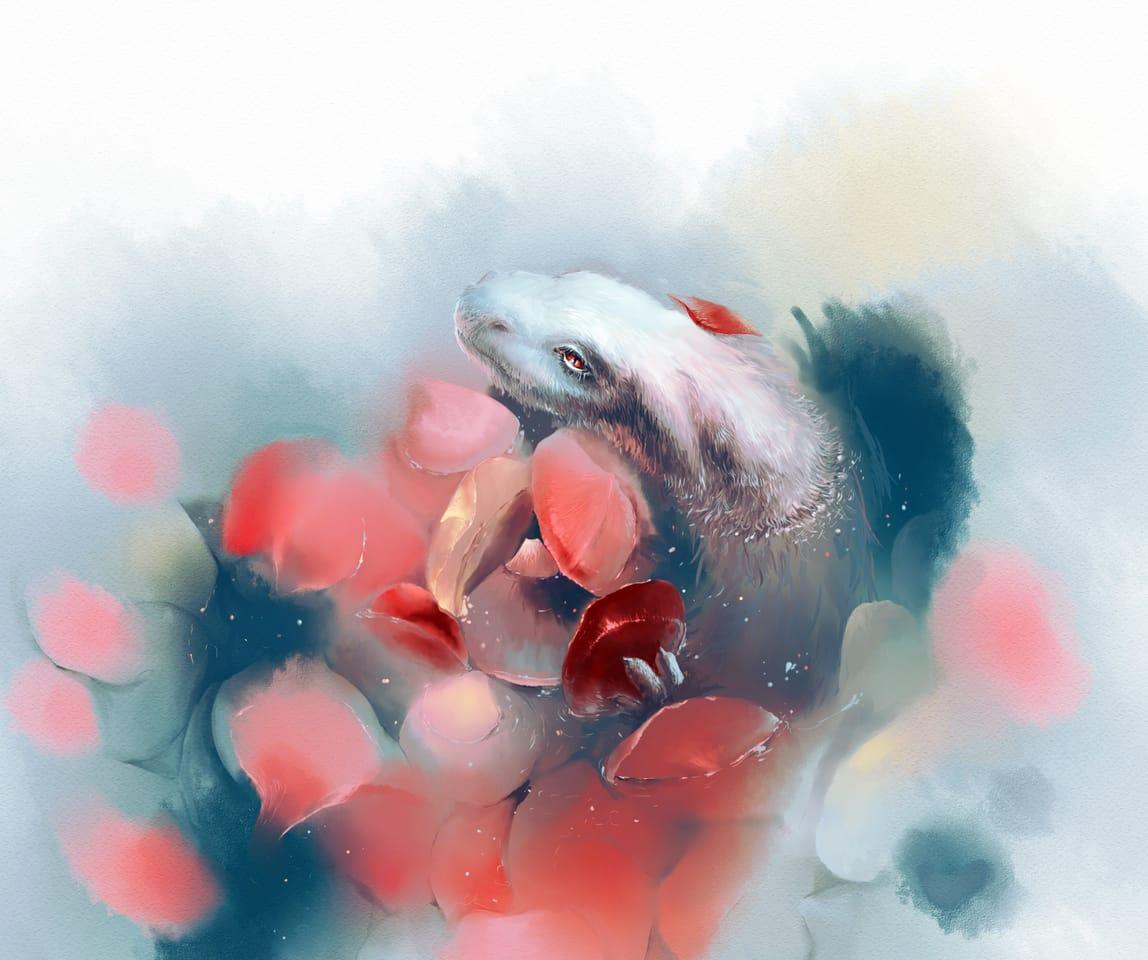 Among petals Illust of Lear April2021_Flower creature art water flower petals