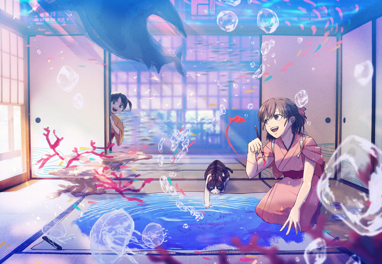 どこにでもいけるよ Illust of ゴンザレス Original_Illustration_Contest sea kimono girl