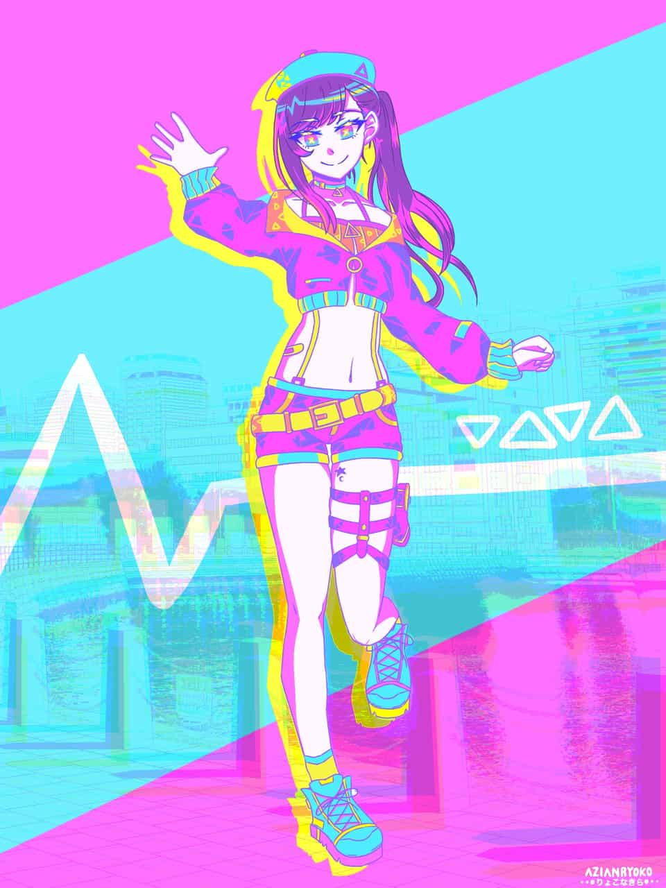 Neon style anime girl Illust of AsianRyoko Background_Image_Contest BackgroundImageContest_Using_Division medibangpaint girl oc cute aesthetic