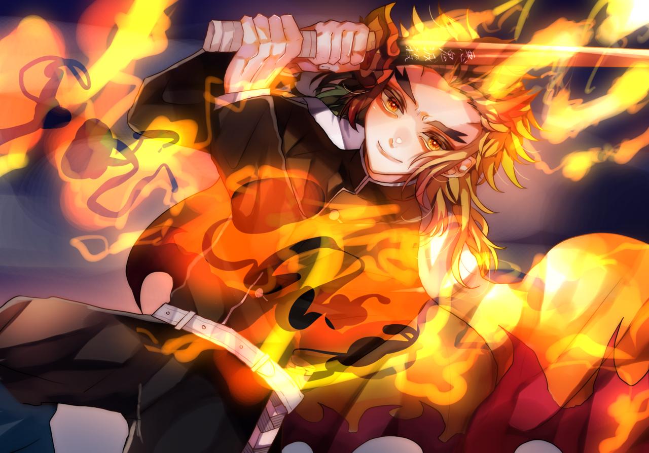 炎 Illust of MELRi illustration painting KimetsunoYaiba character fanart RengokuKyoujurou fire