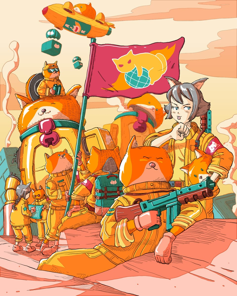 When cat want to rule the  world : END OF D DAY  Illust of Wutikai February2021_Fantasy March2021_Creature MySecretSocietyContest girl Japanese_style scenery War oc cat Mechanic cutegirl robot