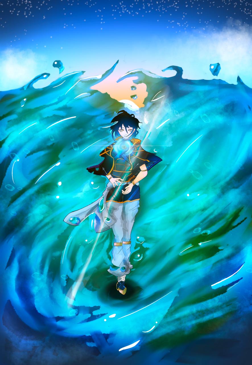灘 Illust of 侑 February2021_Fantasy blue 魔法 eyes ファンタジー風 girl sea