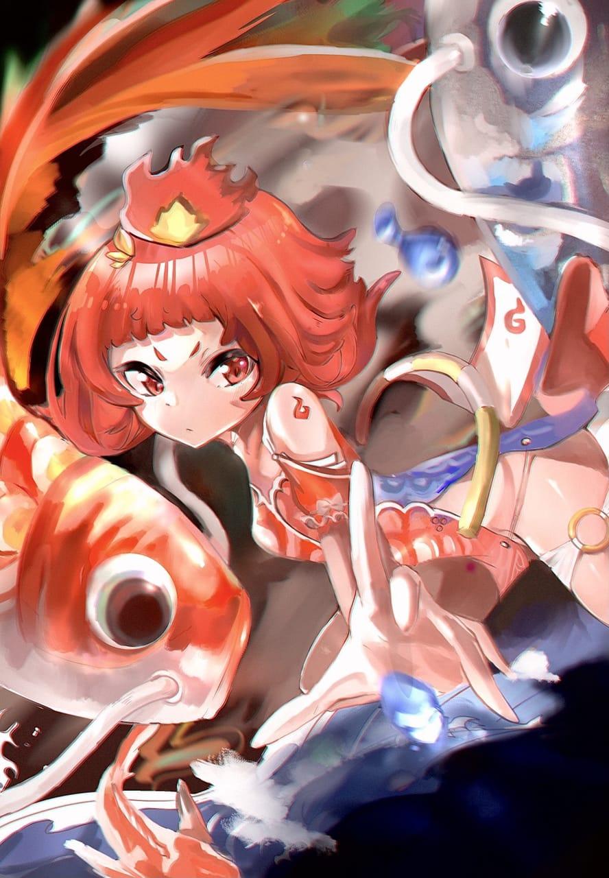 戰亂的鯉魚姬 Illust of 涼宮 ユキ June2021_Anthropomorphism kawaii Personification 蘿莉 cute 鯉魚
