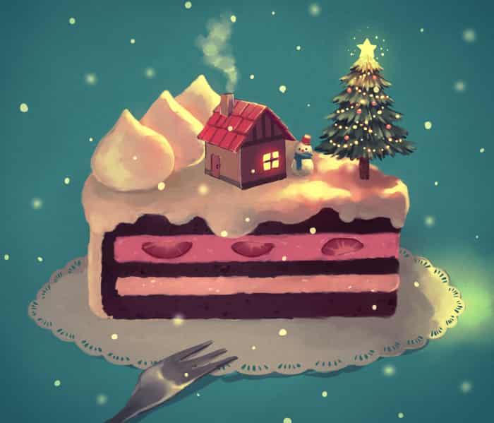 苺とチョコのクリスマスケーキ