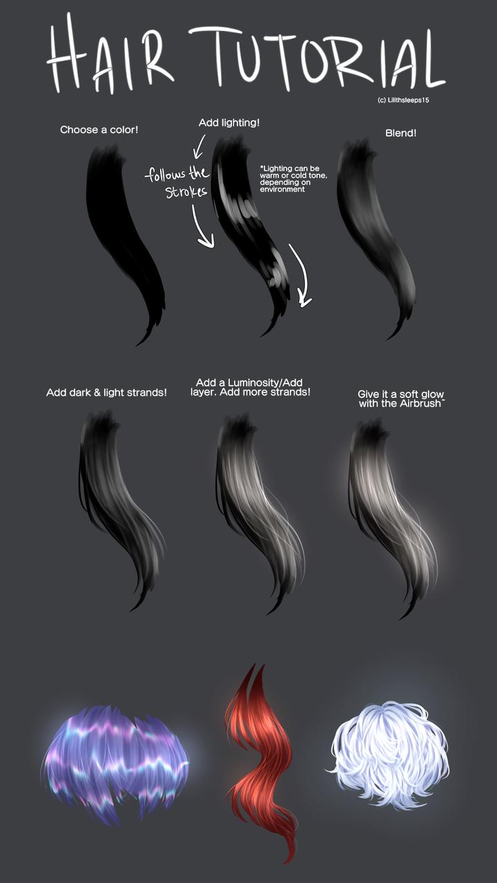 Hair Tutorial Illust of Somnvari medibangpaint メイキング hair tutorial